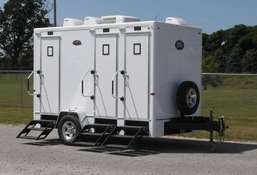The exterior of our 4-stall VIP restroom trailer
