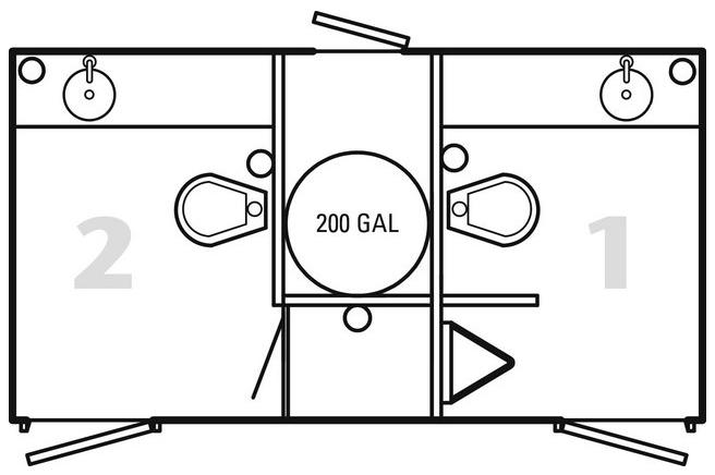 2-stall restroom floor plan