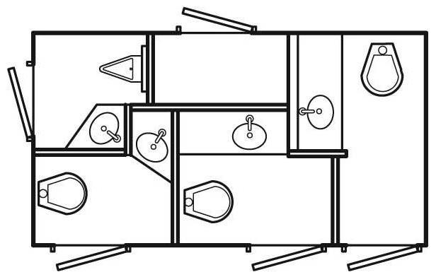 4-stall VIP restroom trailer floorplan