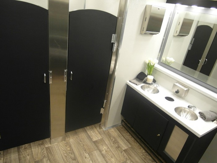 The luxurious interior of our 10-stall VIP restroom trailers