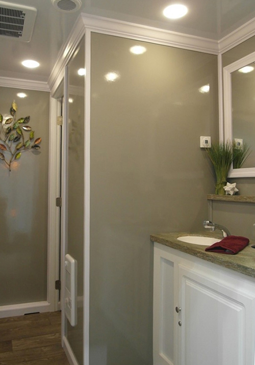 The well-appointed interior of one of our 2-stall restrooms