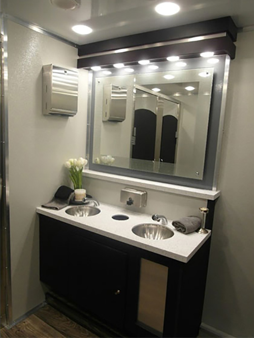 Enjoy well appointed ammenities in our 10-stall VIP restroom trailers.