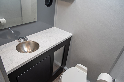 A stall from one of our 4-stall VIP restroom trailers.