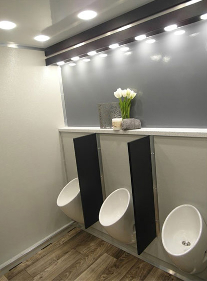 Our 10-stall VIP restrooms come with urnials